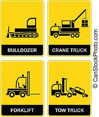 dépanneuse, bulldozer, grue