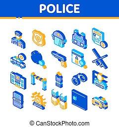 département, icônes, police, vecteur, isométrique, ensemble