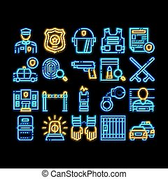 département, illustration, police, néon, icône, lueur