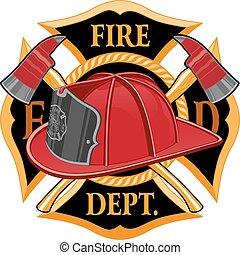 département, symbole, brûler, croix