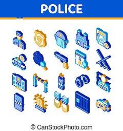 département, vecteur, ensemble, police, icônes, isométrique