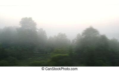 dépassement, brouillard, village
