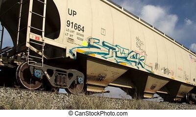 dépassement, cargaison, super, très, train, (4096x2304)., élevé, 4k, long, résolution, qualité, coup, amérique
