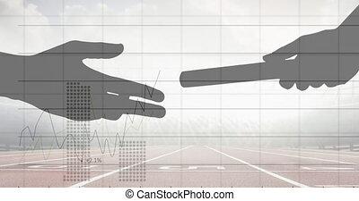 dépassement, champ, statistique, main, bâton, traitement, silhouette, contre, sports, données
