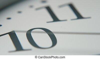 dépassement, nombres, figure, en mouvement, blanc, horloge, trotteuse, dix, onze