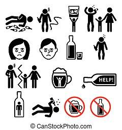 dépendance, ivre, alcool, homme, icônes, alcoolisme