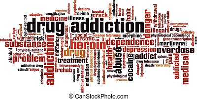 dépendance, mot, drogue, nuage