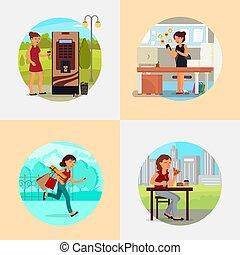 dépendances, plat, gens, illustration, vecteur, divers