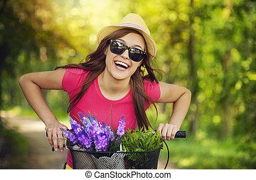 dépenser, femme heureuse, temps, nature