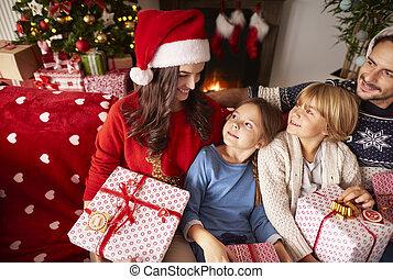 dépenser, maison, ensemble, noël famille