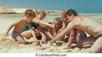 dépenser, plage, temps famille