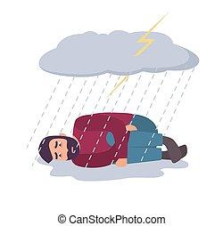 déprimé, concept., dépression, triste, rain., orage, sous, type, nuage, homme