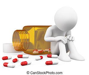 déprimé, homme, pilules, prendre, 3d