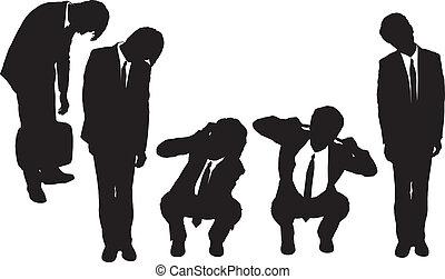 déprimé, regarder, silhouettes, homme affaires