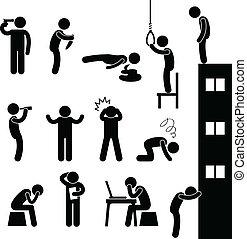 déprimer, suicide, gens, triste, tuer, homme