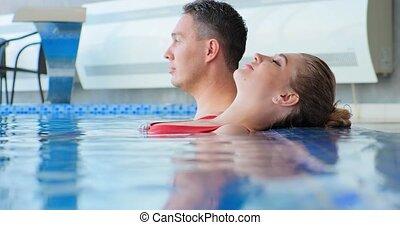 dérives, jeune, maillot de bain, homme, natation, femme, piscine, eau