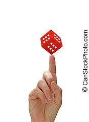 dés, pointage, main femme, doigt, rouges