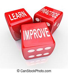 dés, pratique, 3, mots, apprendre, rouges, améliorer