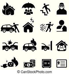 désastre, ensemble, assurance, icône