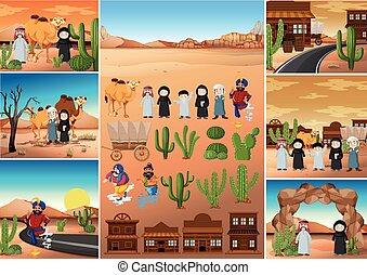 désert, bâtiments, scènes, gens