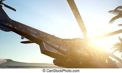 désert, hélicoptère, coucher soleil, vieux, rouillé, militaire