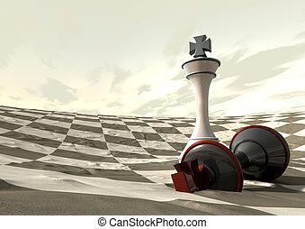 désert, jeu, sur, échecs