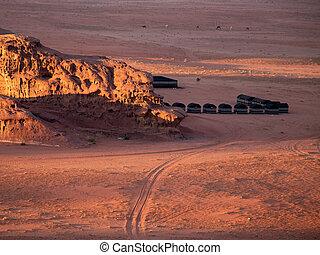 désert, jordanie, oued, bédouin, camps, rhum