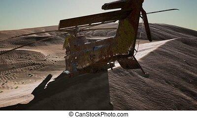 désert, militaire, vieux, rouillé, hélicoptère, coucher soleil