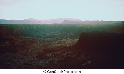 désert, rocheux, dramatique, levers de soleil