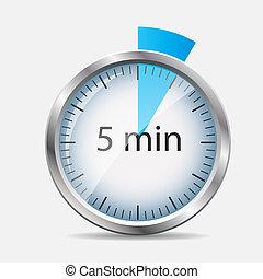 désignation, montre, illustration, vecteur, 5, minutes., argent