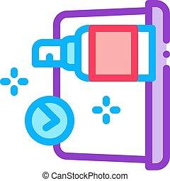 désinfection, contour, vecteur, ordinateur portable, icône, illustration