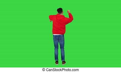 désinvolte, danse, chroma, rouge vert, key., homme, écran, hoody