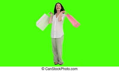 désinvolte, sacs, achats, femme