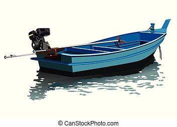 désirent ardemment queue, bateau, vecteur