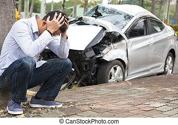 désordre, chauffeur, accident, trafic, après
