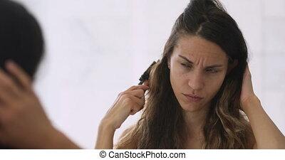 désordre, endommagé, accentué, s'inquiéter, femme, sur, hair.