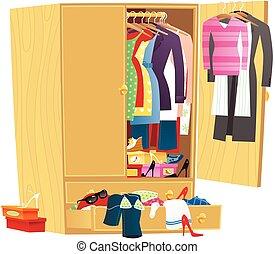 désordre, garde-robe, habillement
