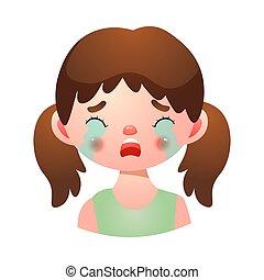 désordre, pleurer, expression, figure, girl, illustration, vecteur