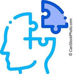 détail, homme, mal tête, vecteur, icône, silhouette, puzzle