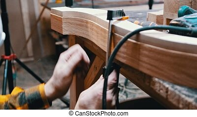 détail, largeur, menuisier, -, homme, charpenterie, mesurer, industrie