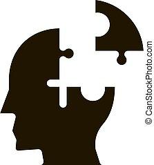 détail, puzzle, glyph, homme, mal tête, silhouette, icône