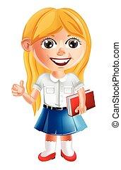 détaillé, école, caractère, peu, vector., illustrations, girl, dessin animé, heureux