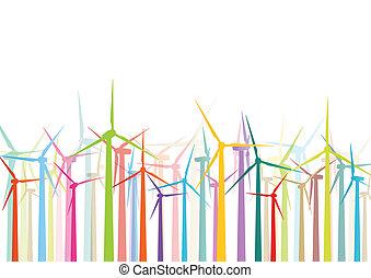 détaillé, éoliennes, écologie, coloré, électricité, illustration, silhouettes, vecteur, générateurs, collection, fond, vent