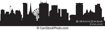détaillé, angleterre, vecteur, skyline., silhouette, birmingham