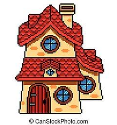 détaillé, art, maison, isolé, conte, vecteur, fée, pixel
