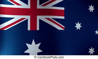 détaillé, australie, tissu, -, seamless, texture, hautement, drapeau ondulant, vent, boucle