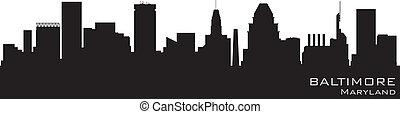 détaillé, baltimore, silhouette, vecteur, skyline., maryland