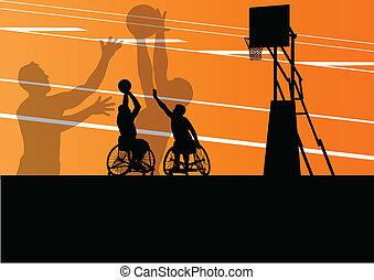 détaillé, basket-ball, silhouette, fauteuil roulant, hommes, illustration, handicapé, joueurs, concept, vecteur, fond, actif, sport