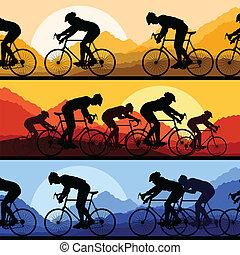détaillé, bicycles, silhouettes, vélo, sport, cavaliers, route