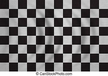 détaillé, checkered, tissu, texture, drapeau, ondulé, courses